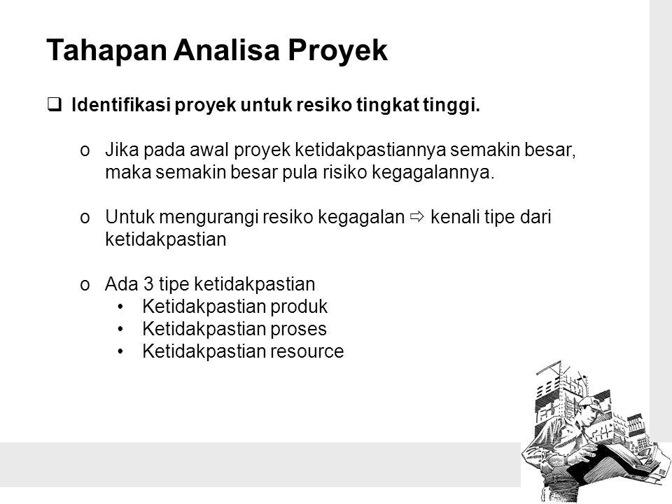 Tahapan Analisa Proyek  Identifikasi proyek untuk resiko tingkat tinggi. oJika pada awal proyek ketidakpastiannya semakin besar, maka semakin besar p