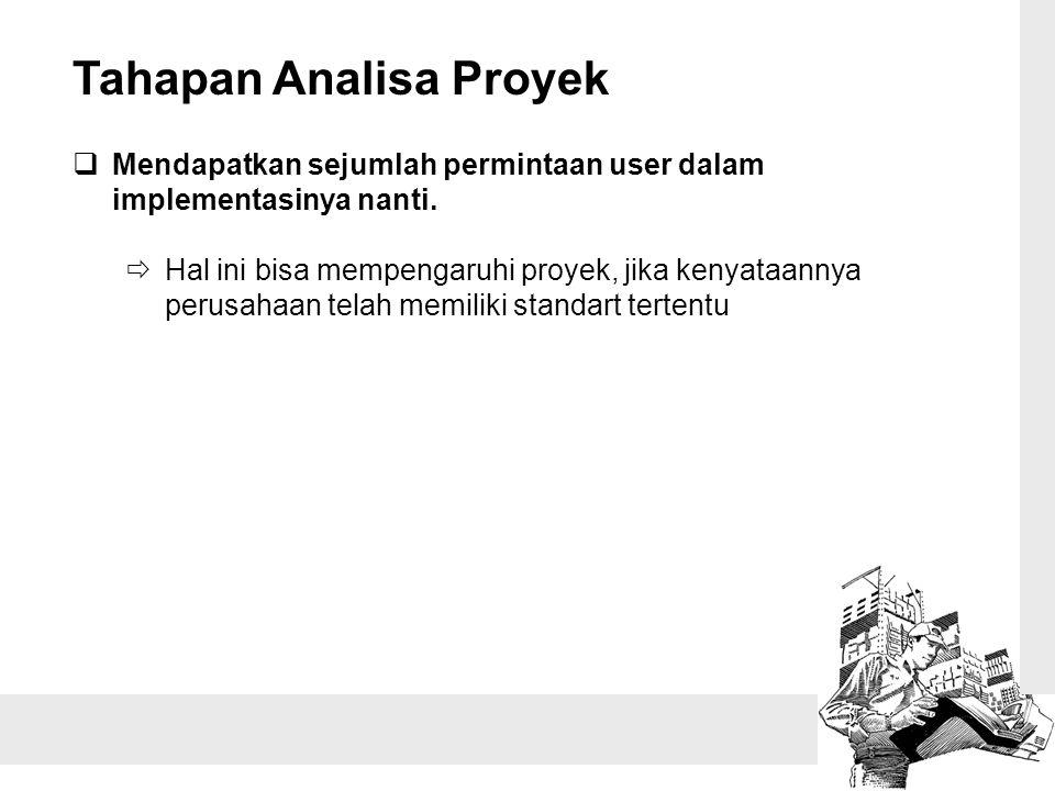 Tahapan Analisa Proyek  Mendapatkan sejumlah permintaan user dalam implementasinya nanti.  Hal ini bisa mempengaruhi proyek, jika kenyataannya perus