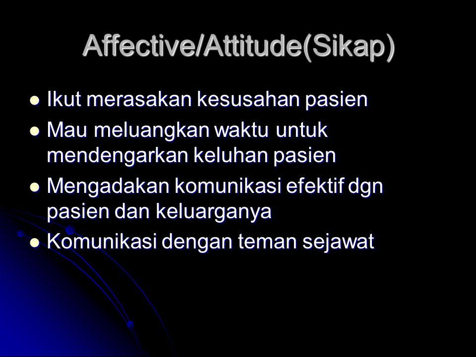 Affective/Attitude(Sikap) Ikut merasakan kesusahan pasien Ikut merasakan kesusahan pasien Mau meluangkan waktu untuk mendengarkan keluhan pasien Mau m