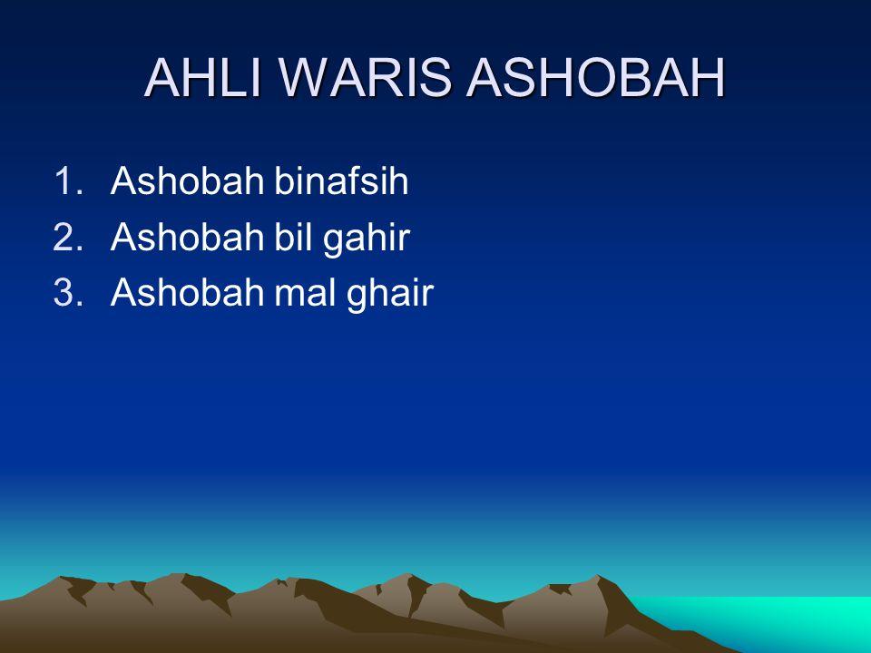 AHLI WARIS ASHOBAH 1.Ashobah binafsih 2.Ashobah bil gahir 3.Ashobah mal ghair