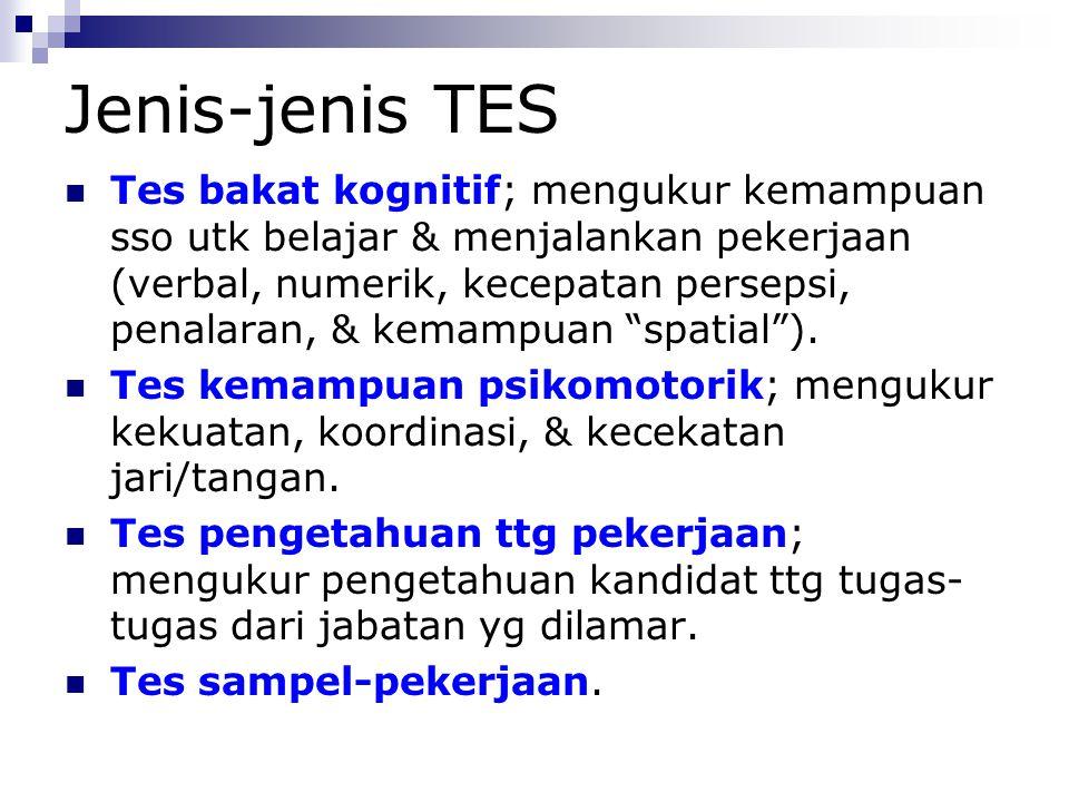 Jenis-jenis TES Tes minat kejuruan; menunjukkan bid.