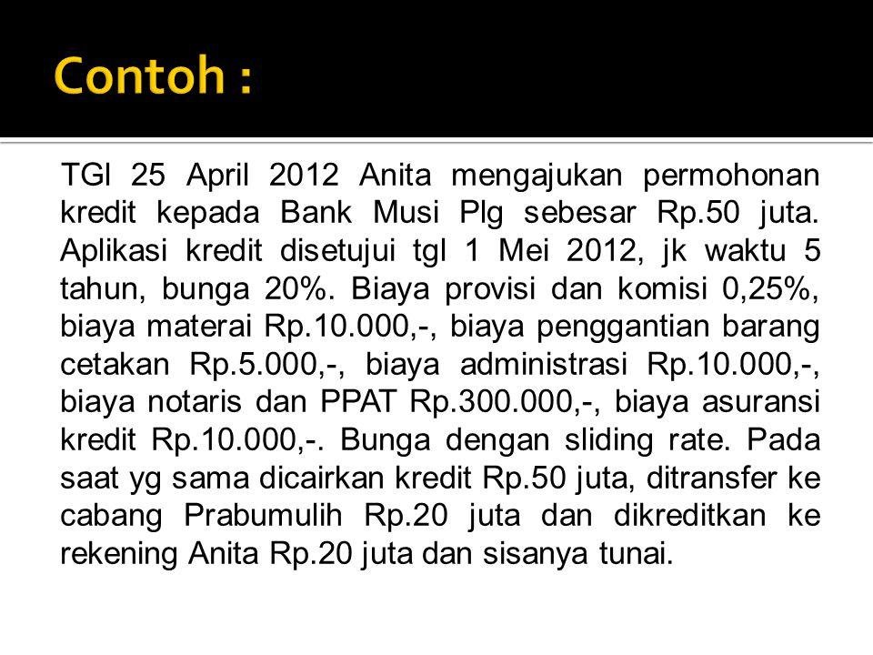 TGl 25 April 2012 Anita mengajukan permohonan kredit kepada Bank Musi Plg sebesar Rp.50 juta. Aplikasi kredit disetujui tgl 1 Mei 2012, jk waktu 5 tah