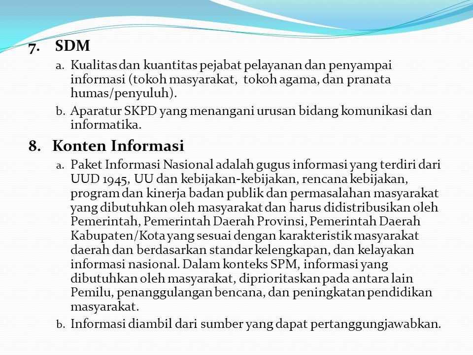 7.SDM a. Kualitas dan kuantitas pejabat pelayanan dan penyampai informasi (tokoh masyarakat, tokoh agama, dan pranata humas/penyuluh). b. Aparatur SKP