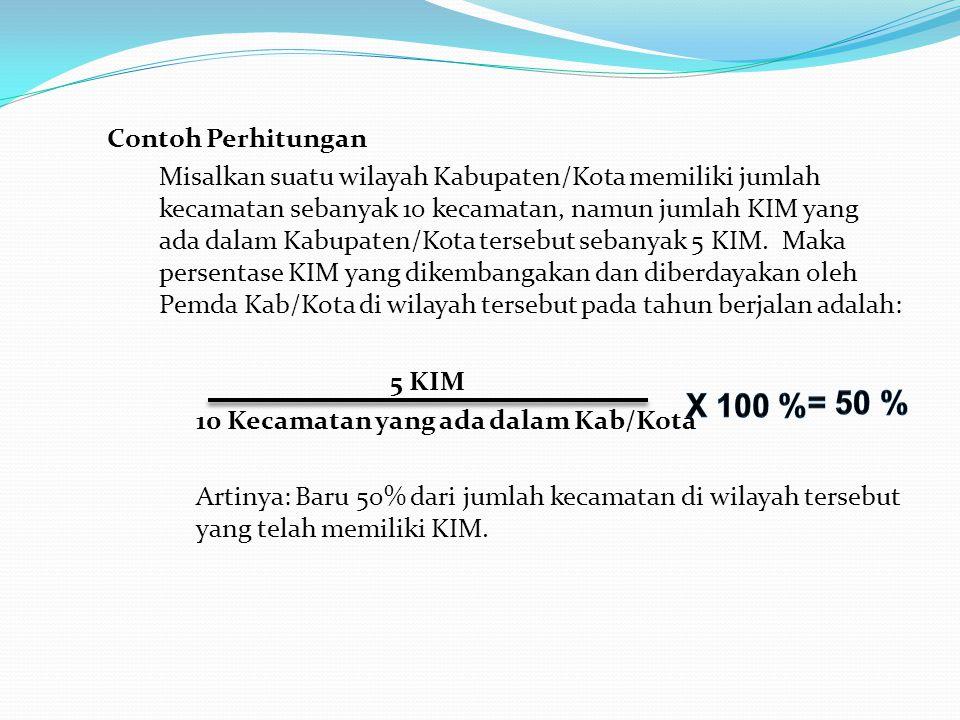 Contoh Perhitungan Misalkan suatu wilayah Kabupaten/Kota memiliki jumlah kecamatan sebanyak 10 kecamatan, namun jumlah KIM yang ada dalam Kabupaten/Ko