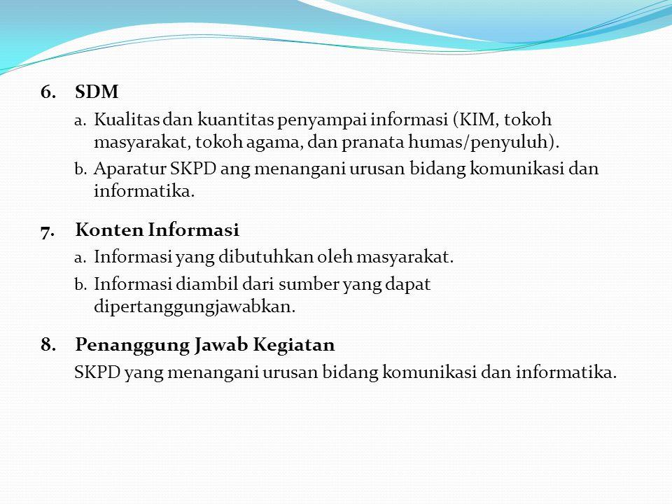 6.SDM a. Kualitas dan kuantitas penyampai informasi (KIM, tokoh masyarakat, tokoh agama, dan pranata humas/penyuluh). b. Aparatur SKPD ang menangani u