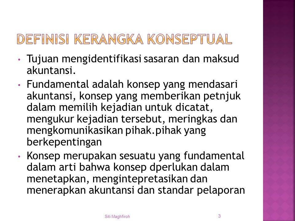 Objectives SFAC No 1 & 4 Siti Maghfiroh 4 Karakteristik Kualitatif SFAC No2 Elemen SFAC No 3 & 4 Kriteria pengakuan SFAC No 5 Laporan Keuangan VS Pelaporan Keuangan Pengukuran SFAC No.