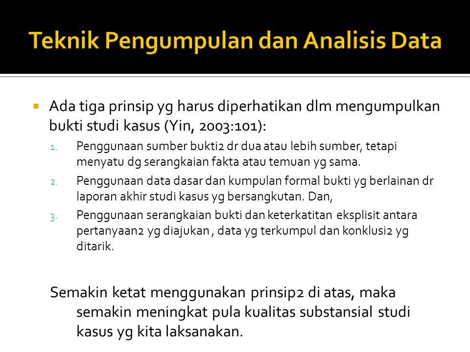  Ada tiga prinsip yg harus diperhatikan dlm mengumpulkan bukti studi kasus (Yin, 2003:101): 1. Penggunaan sumber bukti2 dr dua atau lebih sumber, tet
