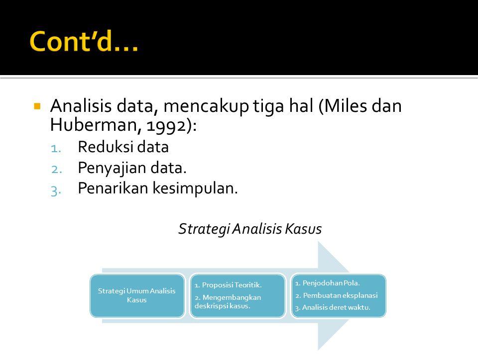  Analisis data, mencakup tiga hal (Miles dan Huberman, 1992): 1. Reduksi data 2. Penyajian data. 3. Penarikan kesimpulan. Strategi Analisis Kasus Str