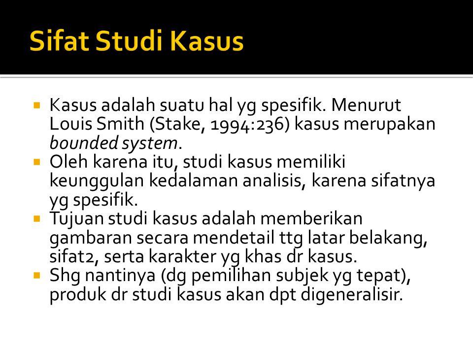  Kasus adalah suatu hal yg spesifik. Menurut Louis Smith (Stake, 1994:236) kasus merupakan bounded system.  Oleh karena itu, studi kasus memiliki ke