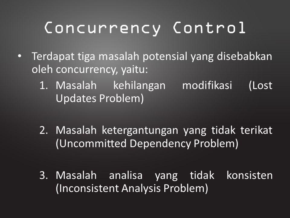 Concurrency Control Terdapat tiga masalah potensial yang disebabkan oleh concurrency, yaitu: 1.Masalah kehilangan modifikasi (Lost Updates Problem) 2.