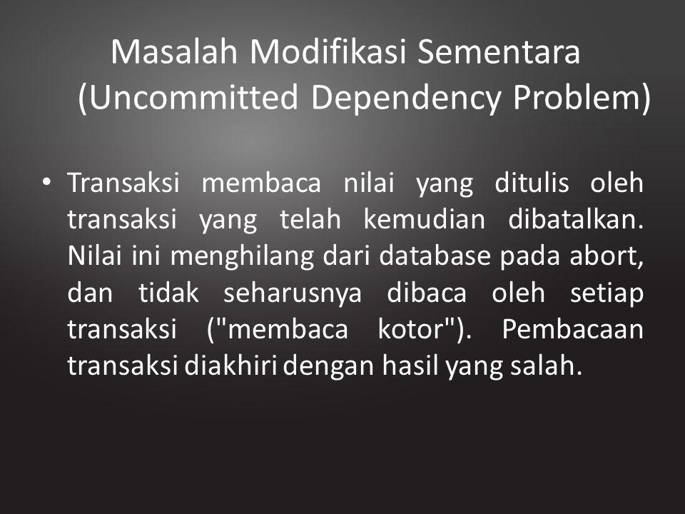 Masalah Modifikasi Sementara (Uncommitted Dependency Problem) Transaksi membaca nilai yang ditulis oleh transaksi yang telah kemudian dibatalkan. Nila