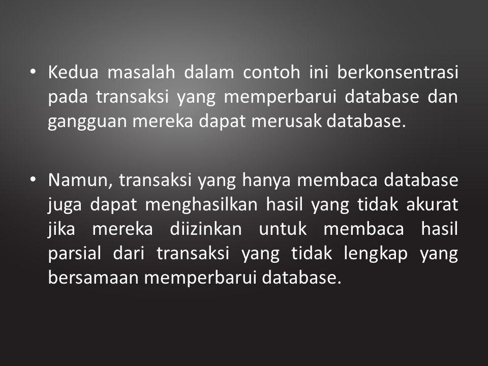 Kedua masalah dalam contoh ini berkonsentrasi pada transaksi yang memperbarui database dan gangguan mereka dapat merusak database. Namun, transaksi ya