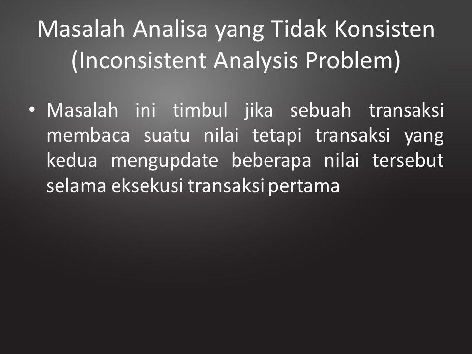 Masalah Analisa yang Tidak Konsisten (Inconsistent Analysis Problem) Masalah ini timbul jika sebuah transaksi membaca suatu nilai tetapi transaksi yan