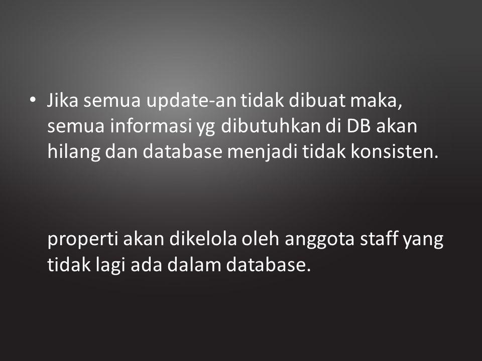 Jika semua update-an tidak dibuat maka, semua informasi yg dibutuhkan di DB akan hilang dan database menjadi tidak konsisten. properti akan dikelola o