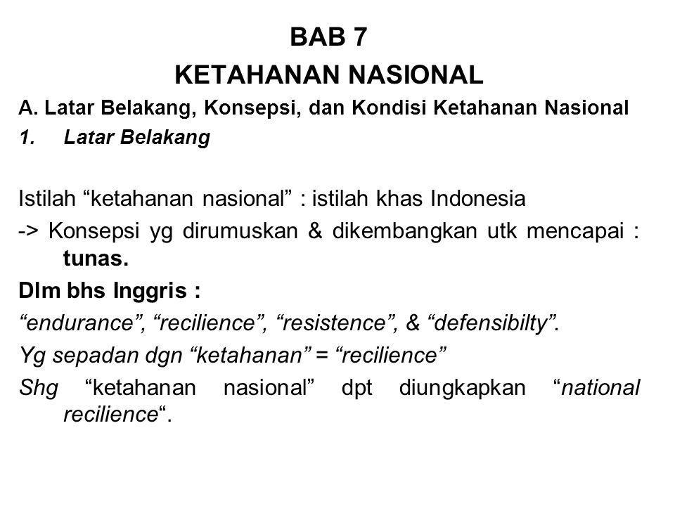 "BAB 7 KETAHANAN NASIONAL A. Latar Belakang, Konsepsi, dan Kondisi Ketahanan Nasional 1.Latar Belakang Istilah ""ketahanan nasional"" : istilah khas Indo"