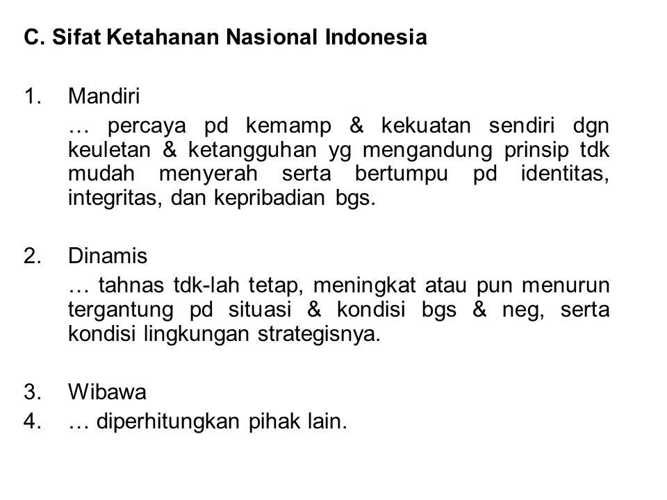 C. Sifat Ketahanan Nasional Indonesia 1.Mandiri … percaya pd kemamp & kekuatan sendiri dgn keuletan & ketangguhan yg mengandung prinsip tdk mudah meny