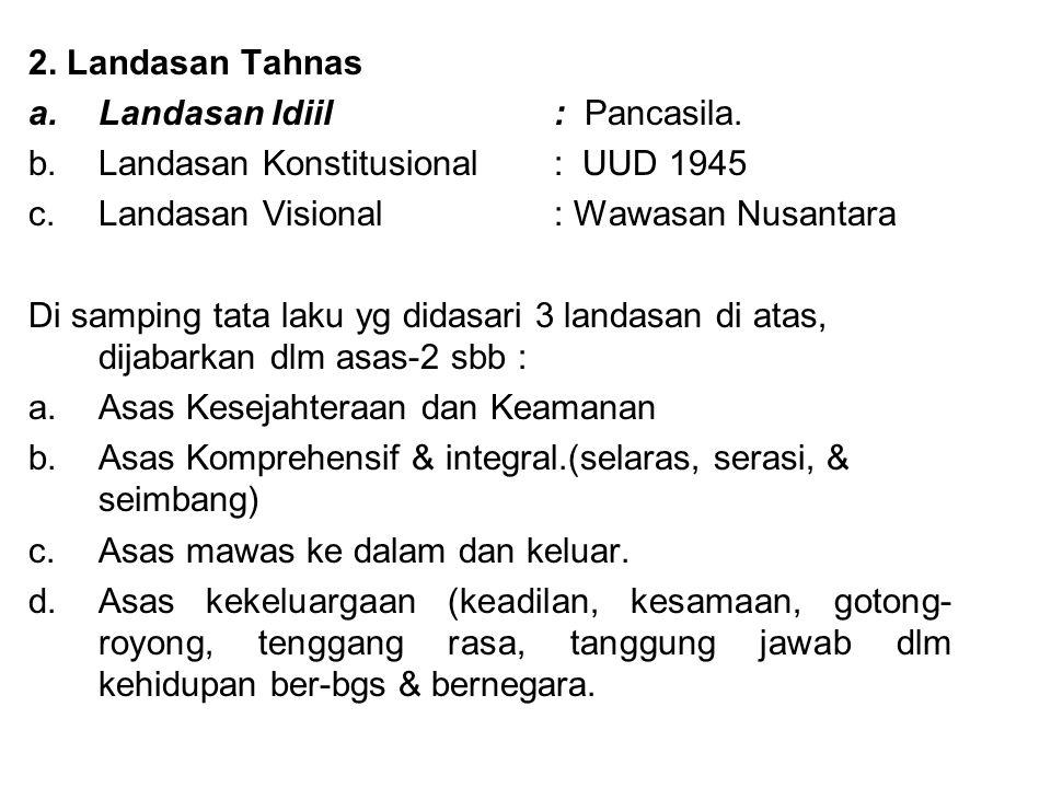 2. Landasan Tahnas a.Landasan Idiil : Pancasila. b.Landasan Konstitusional : UUD 1945 c.Landasan Visional: Wawasan Nusantara Di samping tata laku yg d