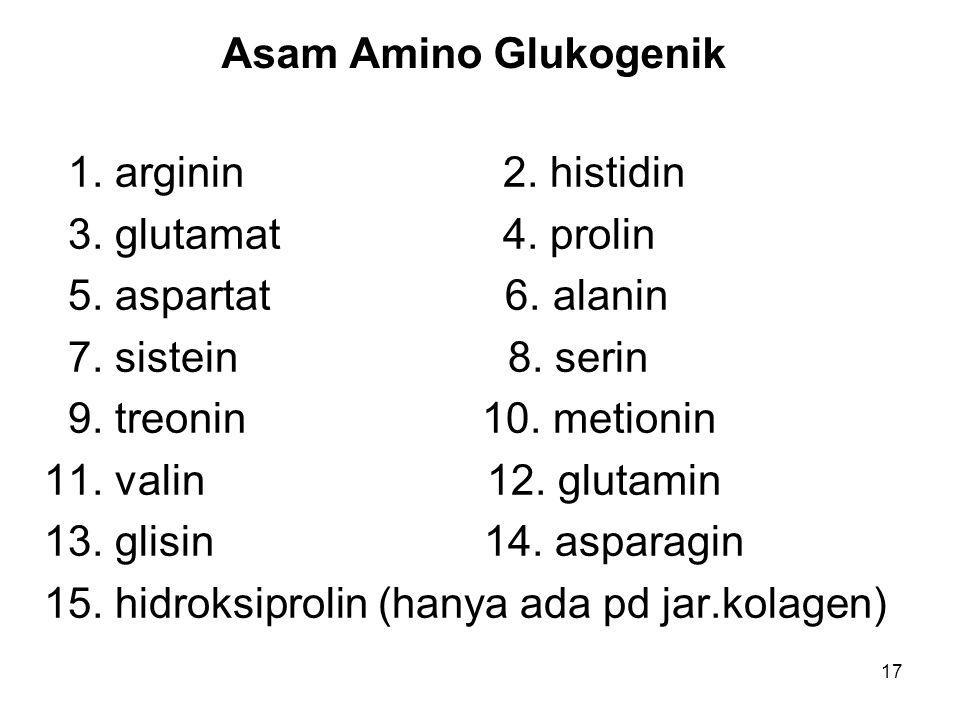 17 Asam Amino Glukogenik 1. arginin 2. histidin 3. glutamat 4. prolin 5. aspartat 6. alanin 7. sistein 8. serin 9. treonin 10. metionin 11. valin 12.