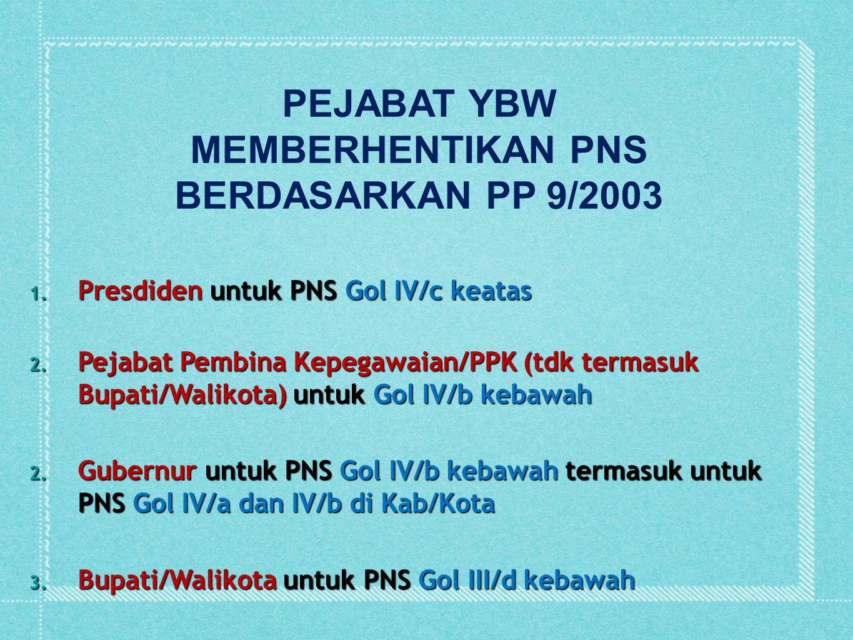 1. Presdiden untuk PNS Gol IV/c keatas 2. Pejabat Pembina Kepegawaian/PPK (tdk termasuk Bupati/Walikota) untuk Gol IV/b kebawah 2. Gubernur untuk PNS