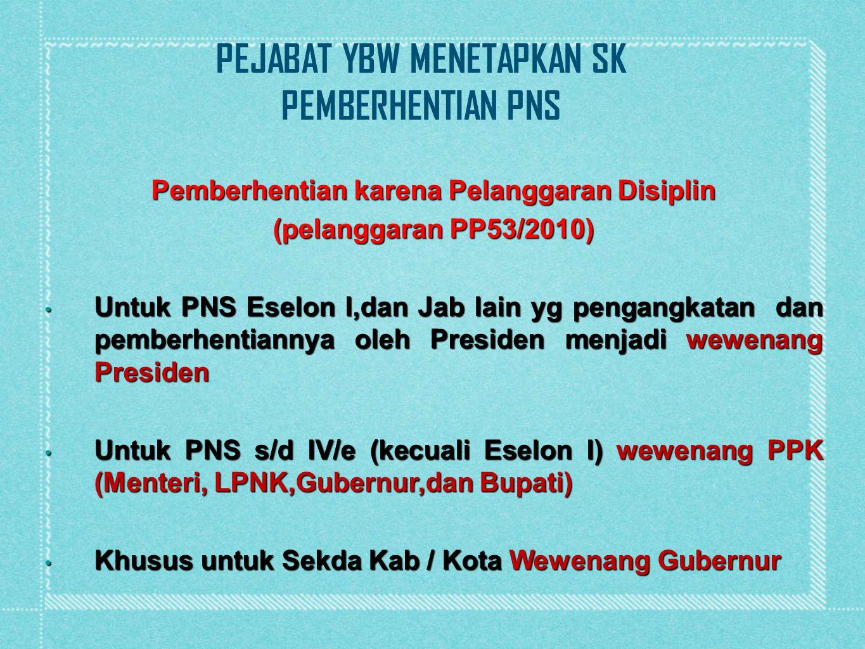 Pemberhentian karena Pelanggaran Disiplin (pelanggaran PP53/2010) Untuk PNS Eselon I,dan Jab lain yg pengangkatan dan pemberhentiannya oleh Presiden m
