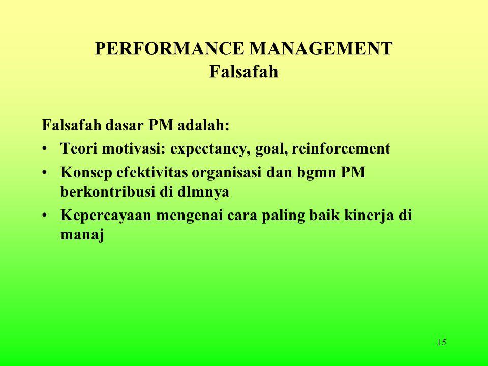 15 PERFORMANCE MANAGEMENT Falsafah Falsafah dasar PM adalah: Teori motivasi: expectancy, goal, reinforcement Konsep efektivitas organisasi dan bgmn PM berkontribusi di dlmnya Kepercayaan mengenai cara paling baik kinerja di manaj