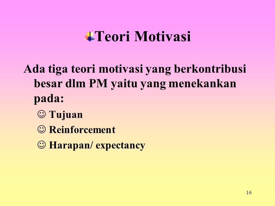 16 Teori Motivasi Ada tiga teori motivasi yang berkontribusi besar dlm PM yaitu yang menekankan pada: Tujuan Reinforcement Harapan/ expectancy