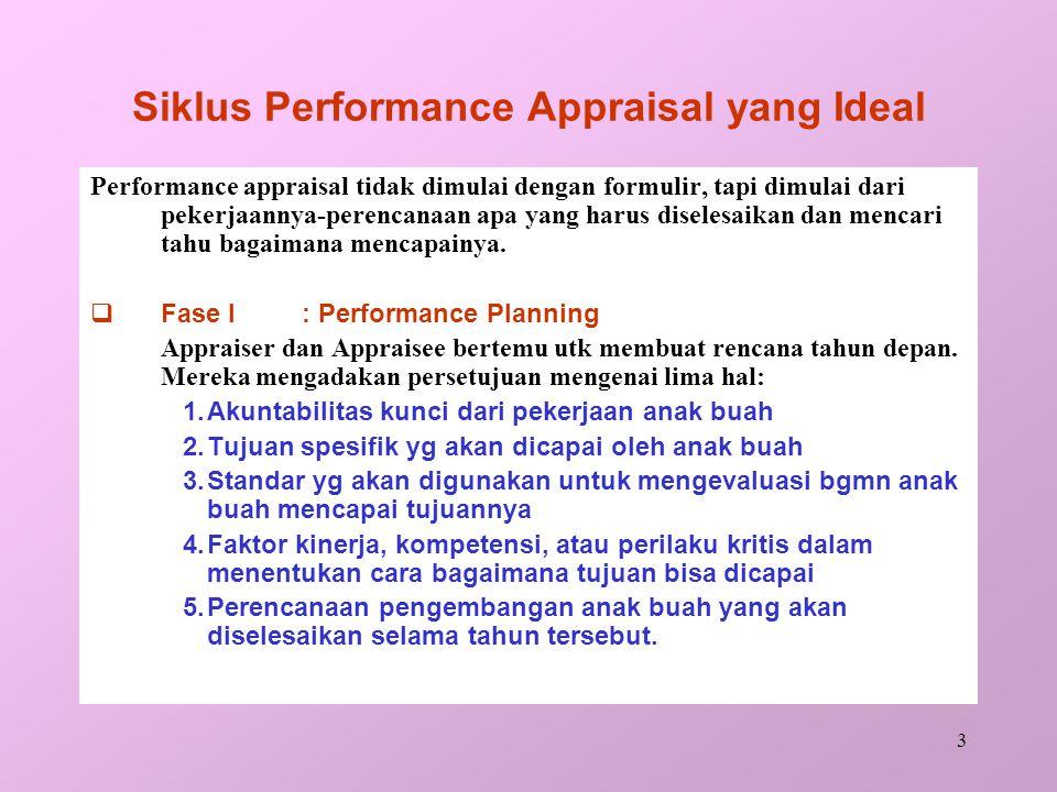 3 Siklus Performance Appraisal yang Ideal Performance appraisal tidak dimulai dengan formulir, tapi dimulai dari pekerjaannya-perencanaan apa yang harus diselesaikan dan mencari tahu bagaimana mencapainya.