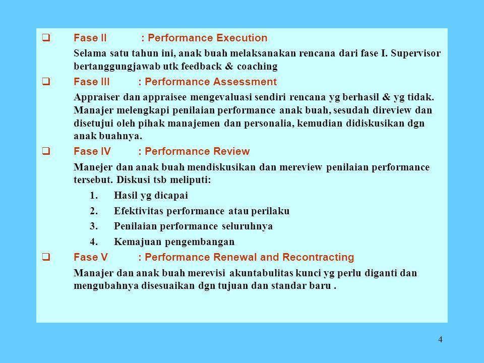 4  Fase II : Performance Execution Selama satu tahun ini, anak buah melaksanakan rencana dari fase I.