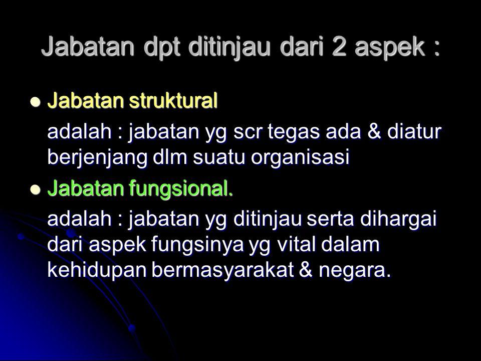 Jabatan dpt ditinjau dari 2 aspek : Jabatan struktural Jabatan struktural adalah : jabatan yg scr tegas ada & diatur berjenjang dlm suatu organisasi J