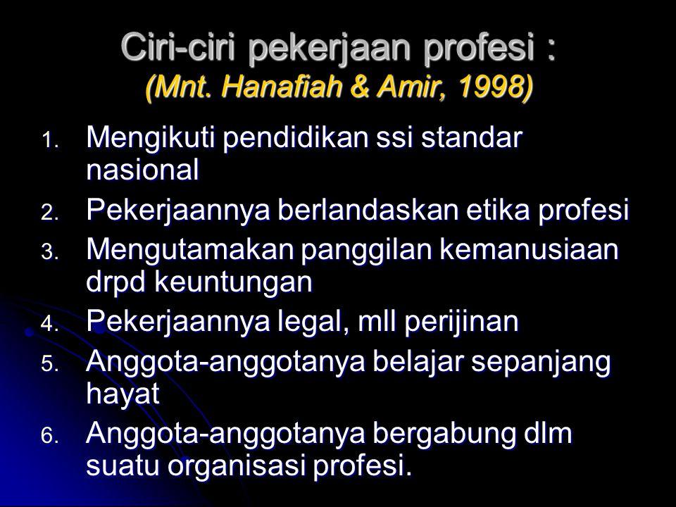 Ciri-ciri pekerjaan profesi : (Mnt. Hanafiah & Amir, 1998) 1. Mengikuti pendidikan ssi standar nasional 2. Pekerjaannya berlandaskan etika profesi 3.