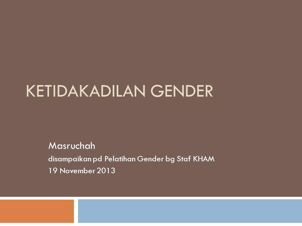 KETIDAKADILAN GENDER Masruchah disampaikan pd Pelatihan Gender bg Staf KHAM 19 November 2013