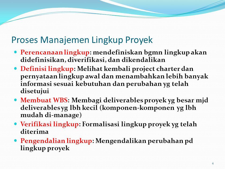 Perencanaan Lingkup dan Rencana Manajemen Lingkup Rencana Manajemen Proyek adl sebuah dokumen yg terdiri atas deskripsi ttg bgmn tim akan mempersiapkan pernyataan lingkup proyek, membuat WBS, memverifikasi kelengkapan deliverables proyek, dan mengendalikan permintaan perubahan pd lingkup proyek Input pokoknya adl : Project charter Pernyataan lingkup awal Rencana manajemen proyek 5