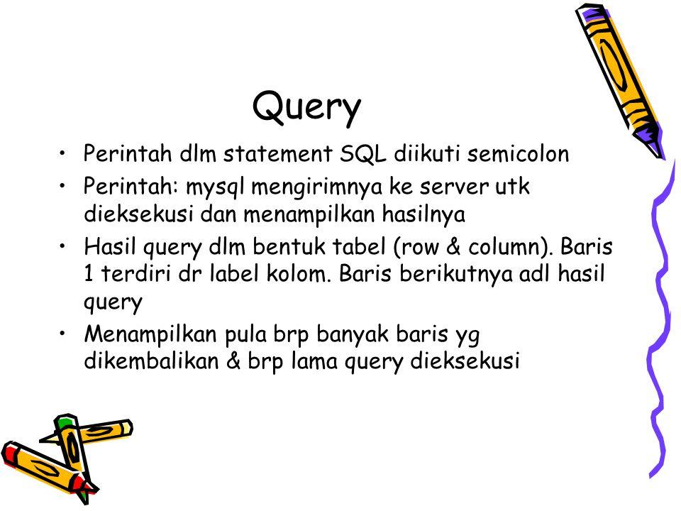 Query Perintah dlm statement SQL diikuti semicolon Perintah: mysql mengirimnya ke server utk dieksekusi dan menampilkan hasilnya Hasil query dlm bentu