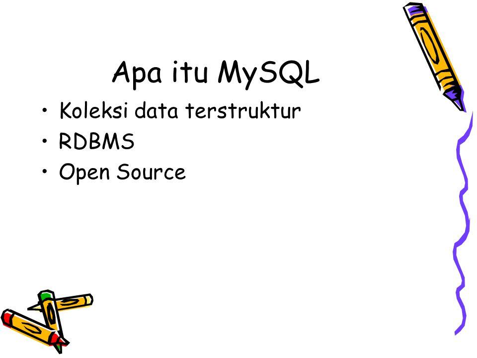 Query Perintah dlm statement SQL diikuti semicolon Perintah: mysql mengirimnya ke server utk dieksekusi dan menampilkan hasilnya Hasil query dlm bentuk tabel (row & column).