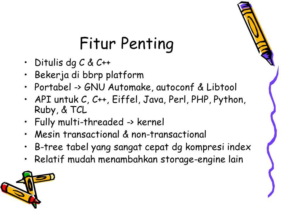 Fitur Penting Ditulis dg C & C++ Bekerja di bbrp platform Portabel -> GNU Automake, autoconf & Libtool API untuk C, C++, Eiffel, Java, Perl, PHP, Pyth
