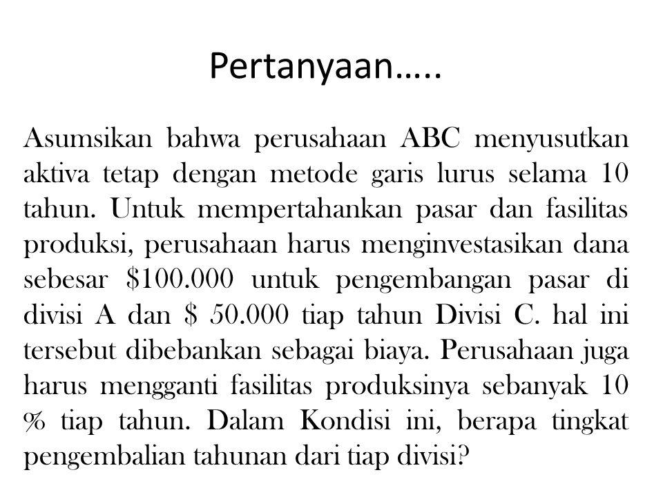 Pertanyaan….. Asumsikan bahwa perusahaan ABC menyusutkan aktiva tetap dengan metode garis lurus selama 10 tahun. Untuk mempertahankan pasar dan fasili