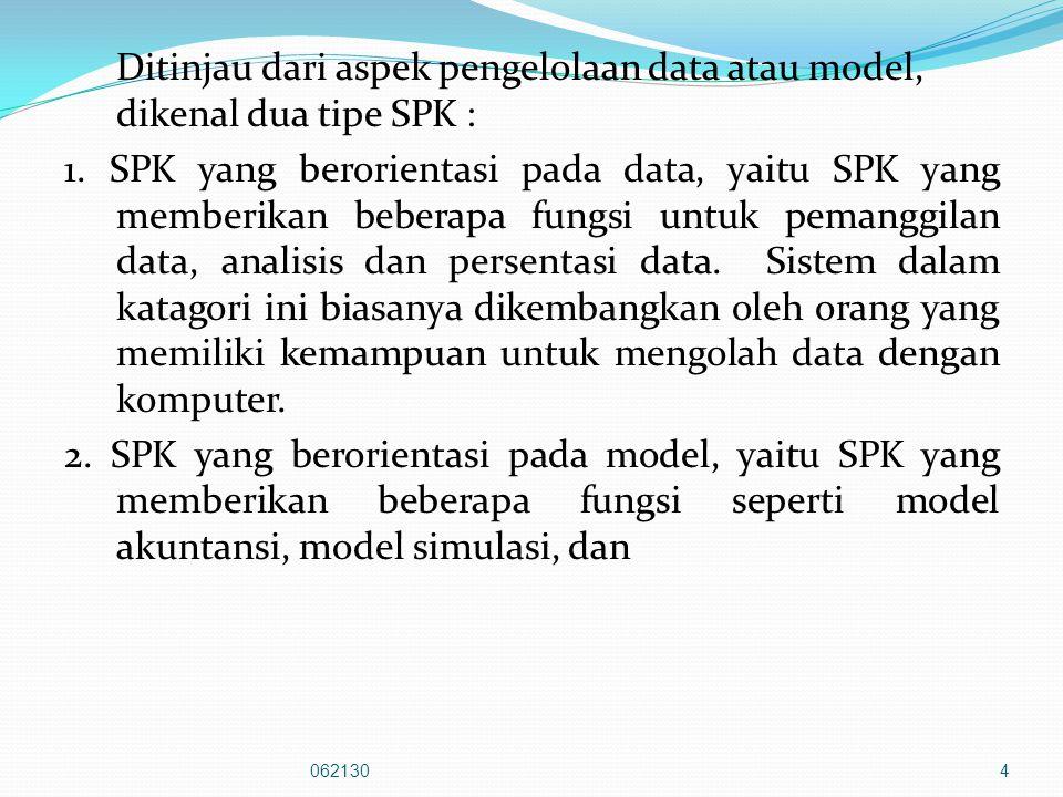 Ditinjau dari aspek pengelolaan data atau model, dikenal dua tipe SPK : 1.