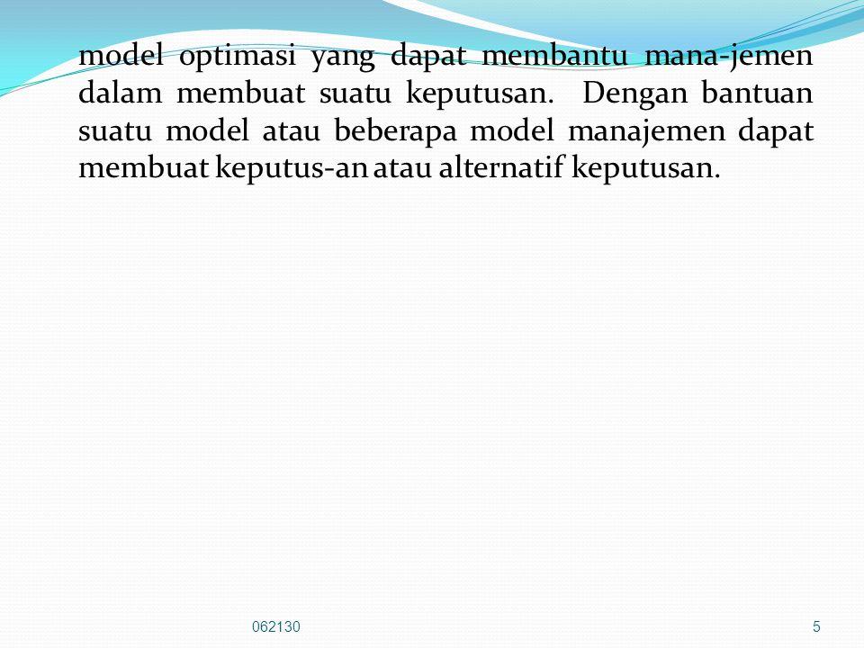 model optimasi yang dapat membantu mana-jemen dalam membuat suatu keputusan.