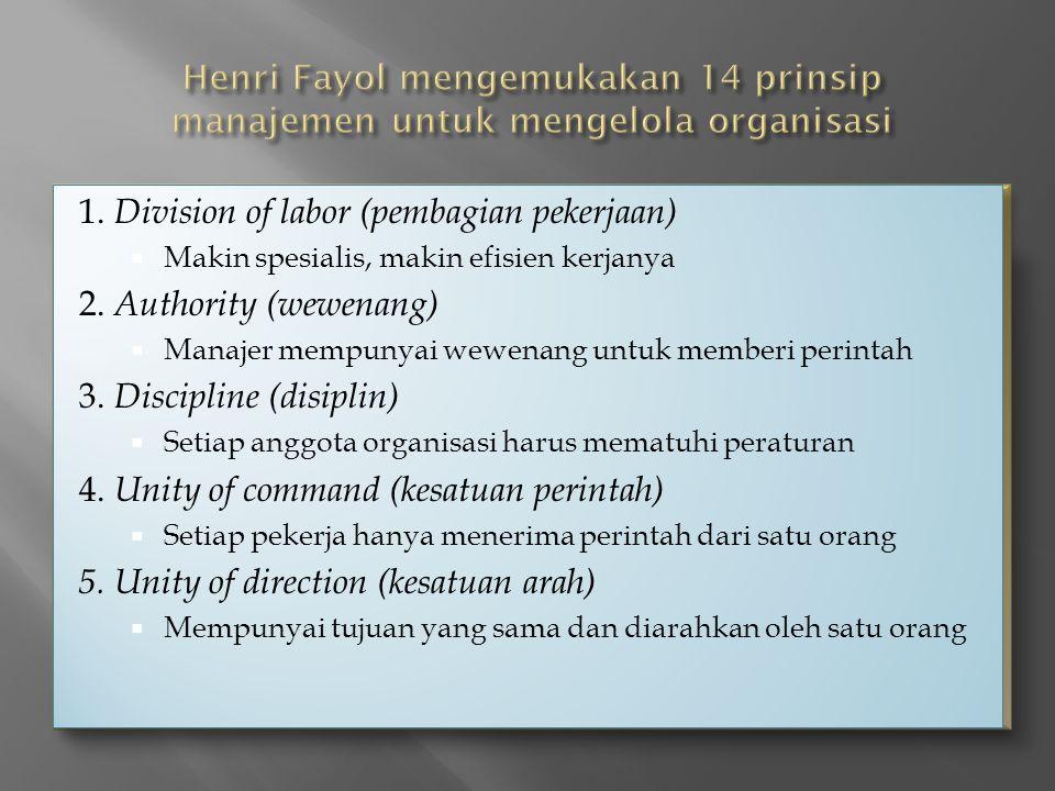 1.Division of labor (pembagian pekerjaan)  Makin spesialis, makin efisien kerjanya 2.