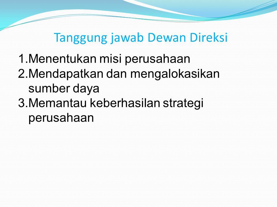 Tanggung jawab Dewan Direksi 1.Menentukan misi perusahaan 2.Mendapatkan dan mengalokasikan sumber daya 3.Memantau keberhasilan strategi perusahaan