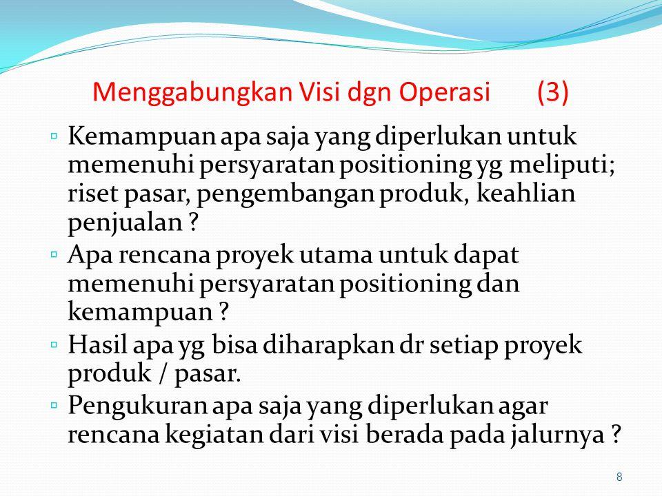 Menggabungkan Visi dgn Operasi (3) ▫ Kemampuan apa saja yang diperlukan untuk memenuhi persyaratan positioning yg meliputi; riset pasar, pengembangan