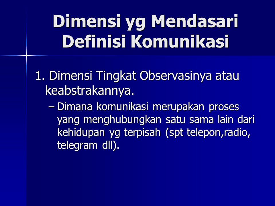 Dimensi yg Mendasari Definisi Komunikasi 1. Dimensi Tingkat Observasinya atau keabstrakannya. –Dimana komunikasi merupakan proses yang menghubungkan s