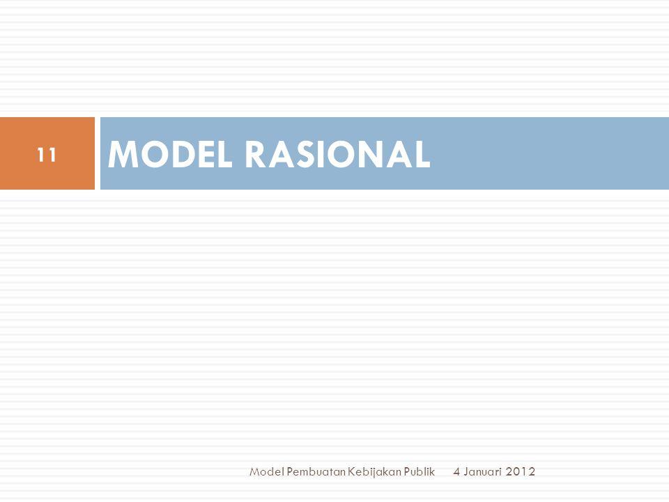 MODEL RASIONAL 4 Januari 2012 11 Model Pembuatan Kebijakan Publik