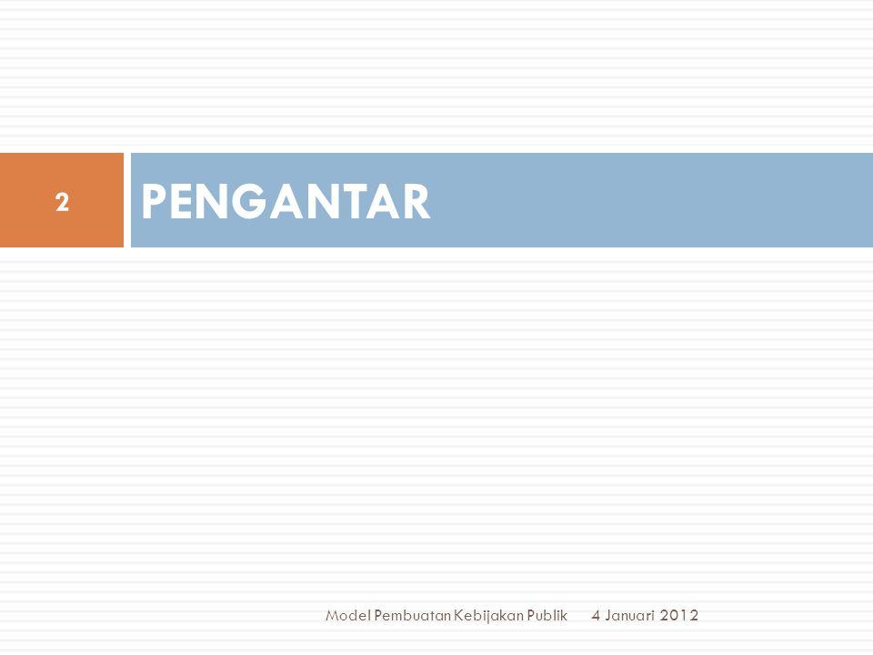 PROSEDUR AKTIVITAS 4 Januari 2012 Model Pembuatan Kebijakan Publik 13  Menentukan sebuah tujuan utk memecahkan sebuah mslh.