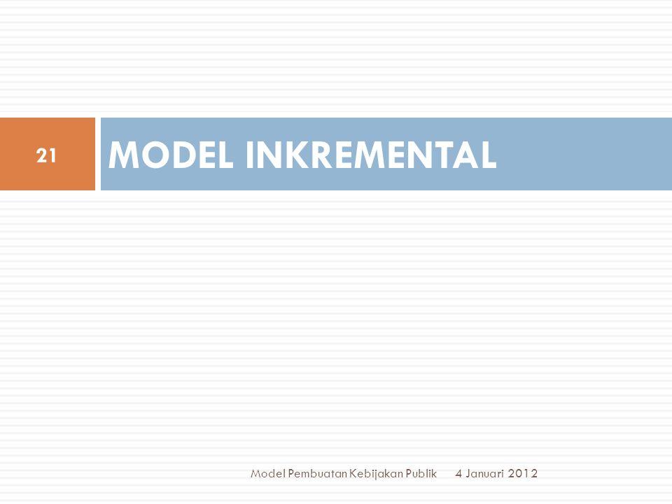 MODEL INKREMENTAL 4 Januari 2012 21 Model Pembuatan Kebijakan Publik