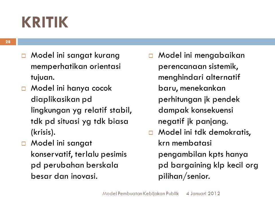 KRITIK  Model ini sangat kurang memperhatikan orientasi tujuan.  Model ini hanya cocok diaplikasikan pd lingkungan yg relatif stabil, tdk pd situasi