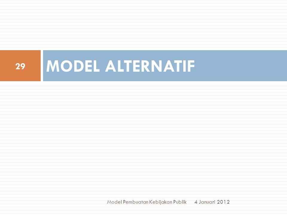 MODEL ALTERNATIF 4 Januari 2012 29 Model Pembuatan Kebijakan Publik