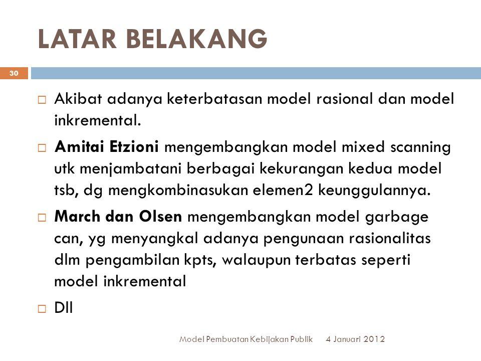 LATAR BELAKANG 4 Januari 2012 Model Pembuatan Kebijakan Publik 30  Akibat adanya keterbatasan model rasional dan model inkremental.