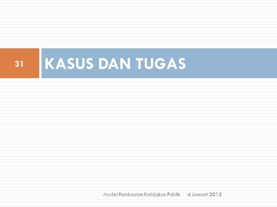 KASUS DAN TUGAS 4 Januari 2012 31 Model Pembuatan Kebijakan Publik