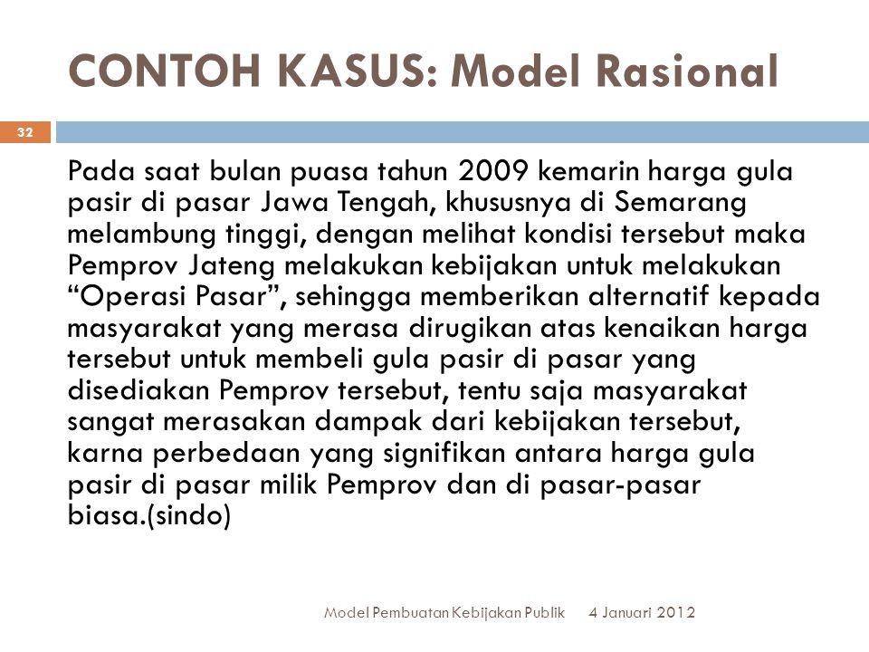 CONTOH KASUS: Model Rasional 4 Januari 2012 Model Pembuatan Kebijakan Publik 32 Pada saat bulan puasa tahun 2009 kemarin harga gula pasir di pasar Jaw
